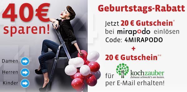20 € Rabatt auf das gesamte Sortiment von Mirapodo - auch auf Sale-Artikel