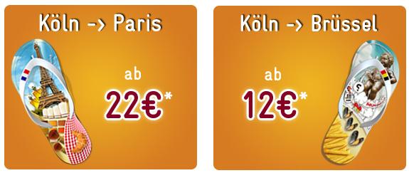 Günstige Bahntickets: Köln - Paris für 22€ oder Köln - Brüssel für 12€