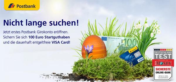 Postbank Happy Hour: Giro plus Konto mit 100 € Startguthaben und gratis VISA-Karte *Update*