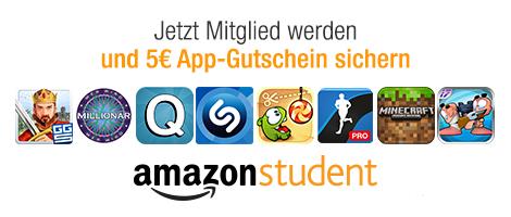 Amazon Student: 5 € App-Gutschein für alle Neumitglieder