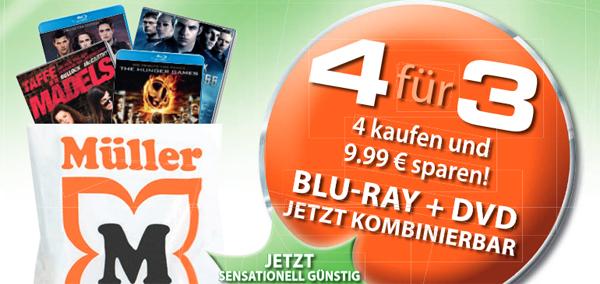 Müller: 4 DVDs oder Blu-rays kaufen, nur 3 davon bezahlen & Konter von Amazon