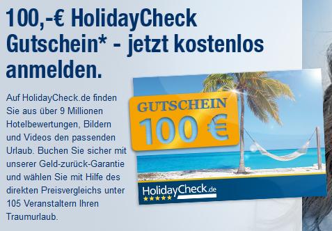 100 € HolidayCheck-Gutschein für kostenlose Anmeldung bei Elitepartner