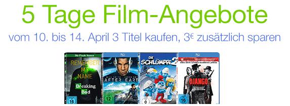 5 Tage Film-Angebote bei Amazon und beim Kauf von 3 Titeln zusätzlich 3 € sparen
