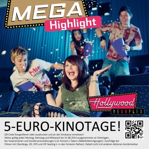 Hollywood Megaplex: Montag bis Mittwoch um nur 5 € ins Kino