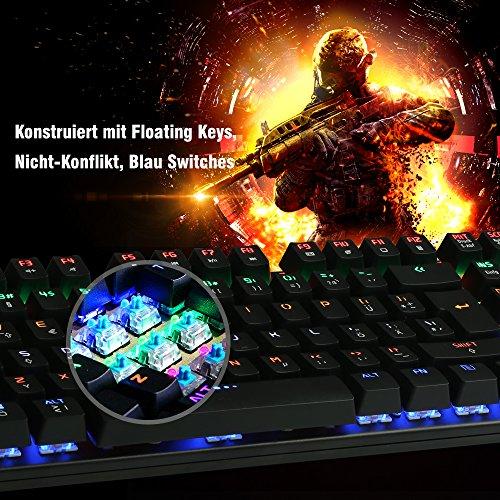 DBPOWER USB LED Mechanische Spiele Tastatur für 49,99€