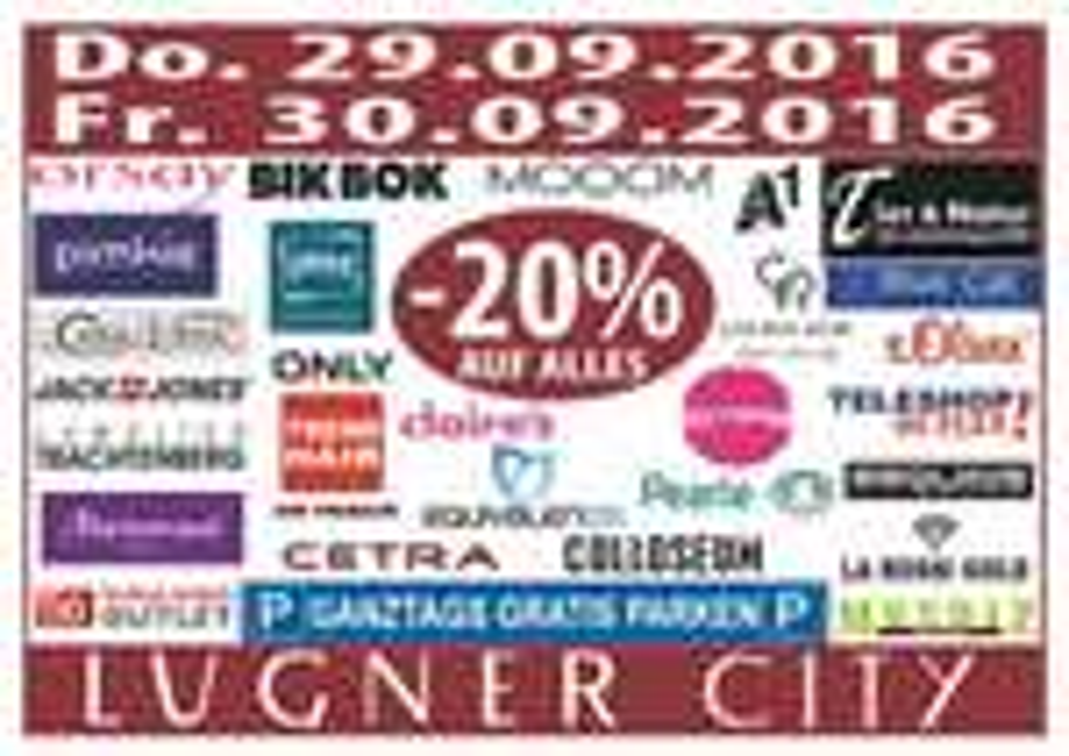 Lugner City: 20% Rabatt in vielen Shops + ganztags gratis Parken - am 29. und 30. September