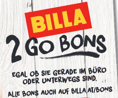 """Neue BILLA """"2 Go"""" Gutscheine - bis 9.8.2017"""