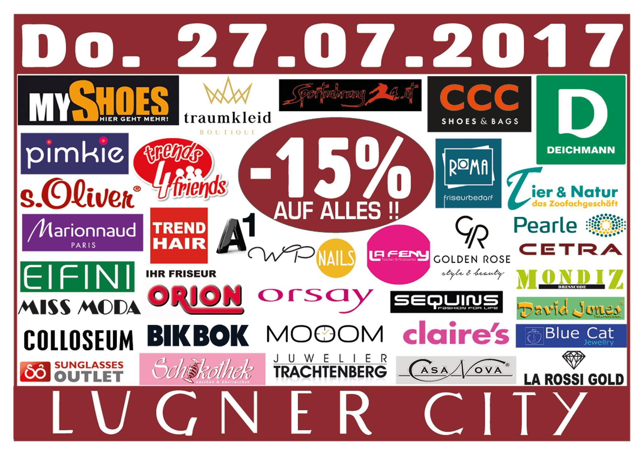 Lugner City: 15% Rabatt in vielen Shops - nur am 27. Juli