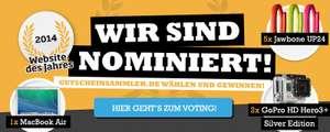 Gutscheinsammler.de als Website des Jahres 2014 nominiert - abstimmen und gewinnen