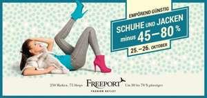 """""""Happy Weekend"""" im Freeport Fashion Outlet - 45-80% auf Schuhe und Jacken - nur am 25.10 + 26.10.2014"""