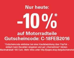 10% Rabatt auf Motorradteile und Motorradkleidung bei ebay