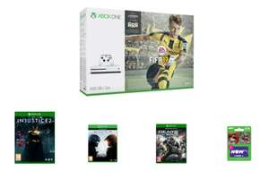 Game.co.uk: Xbox One S 500GB + FIFA 17 + Halo 5 + Gears of War 4 + Injustice 2 für ca. 247,90€