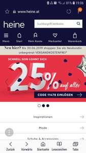 -25% auf alles und gratis Versand