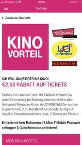 (NUR für T-Mobile Kunden) Bei ausgewählten Kinos bekommt man einen Rabatt von 2,50€!