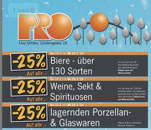 [Pro Kaufland Linz] -25% auf Bier, Sekt, Wein, Spirituosen & Porzellan- und Glaswaren