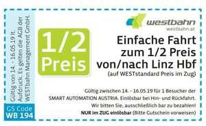 [INFO] WESTBAHN Einfache Fahrt zum 1/2 Preis von/nach Linz Hbf