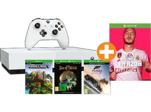Xbox One S All Digital Konsole + 4 Spiele FIFA 20 (Download-Code) + Sea of Thieves + Forza Horizon 3  + Minecraft