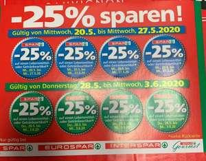 [Interspar, Eurospar, Spar, G-S] -25% Rabatt Sticker von 20.05 - 03.06.