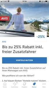 AVIS: 25% Rabatt auf ein Mietauto inkl. freier Zusatzfahrer über die Lidl Plus App