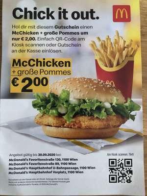 [McDonalds 1100 Wien] McChicken + große Pommes, Fish-o-Filet + große Pommes um 2,-