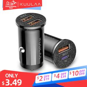 Aliexpress Mini USB Auto Ladegerät Schnell Ladung 4,0 PD 3,0 48W für 3,02 Euro
