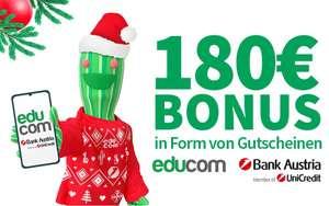 180€ Weihnachts-Bonus bei Eröffnung eines Bank Austria Studentenkontos (200€ Bonus bei gleichzeitiger Educom Anmeldung)