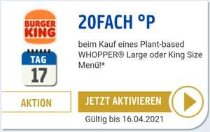 20-FACH PAYBACK Punkte bei Burger King auf Plant-base Whopper Menü