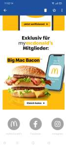 [McDonalds] Gratis Big Mac Bacon für mymcdonalds App