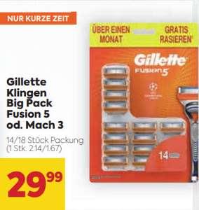 Billa: Gilette Klingen Big Pack - Fusion 5 (14 Stk.) / Mach 3 (18 Stk.) + 25% Pickerl