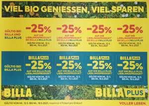 25% Pickerl für Billa und Billa-Plus ab 12.Mai
