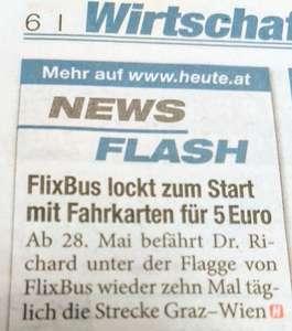 Flixbus: Wien - Graz um 5,-