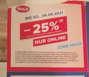 Hervis - 25% auf fast alle Produkte von letztgültigen Verkaufspreis