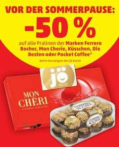 -50% auf alle Pralinen der Marke Ferrero Rocher, Mon Cherie, Küsschen, die Besten, Pocket Coffee für JÖ Kunden 02.06.-09.06. beim Penny