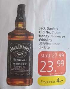 Jack Daniels Whiskey Old No. 7 oder Honey mit 25% Pickerl günstig bei Eurospar