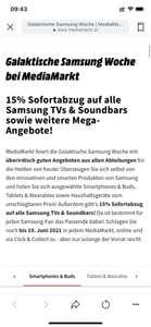 Mediamarkt 15% auf alle Samsung TVs & Soundbars