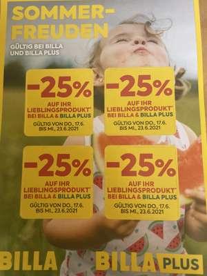 4 x 25 % Rabattsticker für Billa und Billa Plus