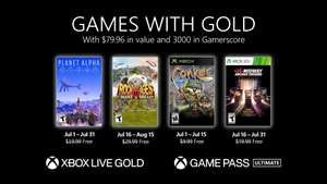 Games with Gold im Juli 21: Planet Alpha, Rock of Ages 3, Conker Live & Reloaded, Midway Arcade Origins und (Hydro Thunder Hurrican)