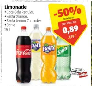 Coca Cola, Fanta, Sprite in der 1,5 l Flasche in Aktion bei Hofer