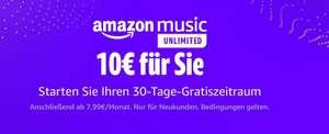 Amazon Music Unlimited 1 Woche lang kostenlos testen und 10 Euro Amazon Gutschein erhalten (MBW 30 Euro)