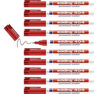 edding 404 Permanentmarker - rot - 10 Stifte - feine Rundspitze 0,75 mm