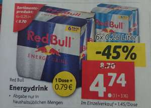 Red Bull Energy Drink 6 Stück um 4,74€ (=0,79€ pro Dose)
