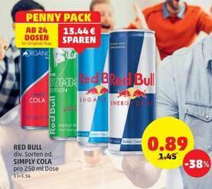 Red Bull (div. Sorten) und Simply Cola in Aktion ab 24 Stück bei Penny