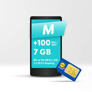 Lidl Connect Aktion Tarif M (7GB sowie +100 Minuten oder SMS) / Jahrestarif 64,90€