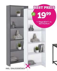 Bücherregal in weiß, eiche oder grau (60 x 175 x 24 cm)