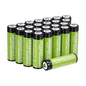 Amazon Basics AA-Batterien, wiederaufladbar, 2000 mAh, 24 Stück, vorgeladen//oder AAA Akkus um 13,46€