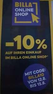 -10% im Billa Onlineshop 12.08.-15.08