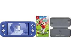 NINTENDO Switch Lite Blau (od. andere Farben) Bundle +Mario Golf: Super Rush + Klapphülle und Schutzfolie NINTENDO UE (Newslettergutschein!)