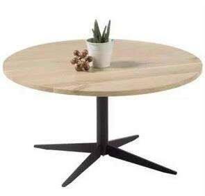 Moebelix: Couchtisch Rund mit Massiver Tischplatte Keanu, Eiche
