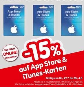 -15% auf iTunes und App Store Guthaben 25 / 50 um 21,25€ / 42,50€