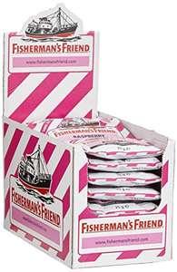 Fisherman's Friend Raspberry | Karton mit 24 Beuteln | Himbeere und Menthol Geschmack | Zuckerfrei
